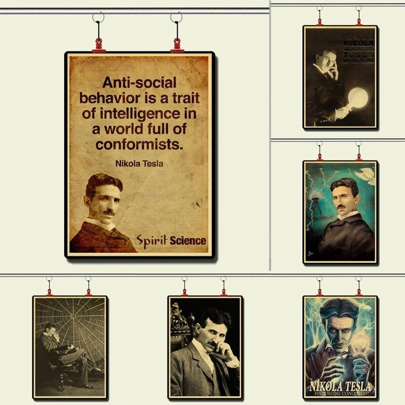 Póster retro de famoso científico Nikola Tesla, papel kraft, decoración del hogar, pintura, pegatina de pared, decoración