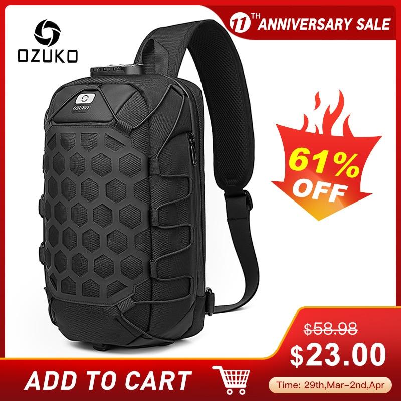 OZUKO Multifunction Men Shoulder Bag Anti-theft Chest Bags for Men Waterproof Sling Messenger Bag Male USB Charge Crossbody Bag