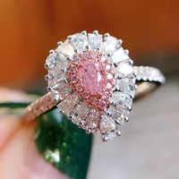 fashion water drop pink zircon ring opening adjustment ring promise ring charm lady romantic wedding party jewelry lovers gift