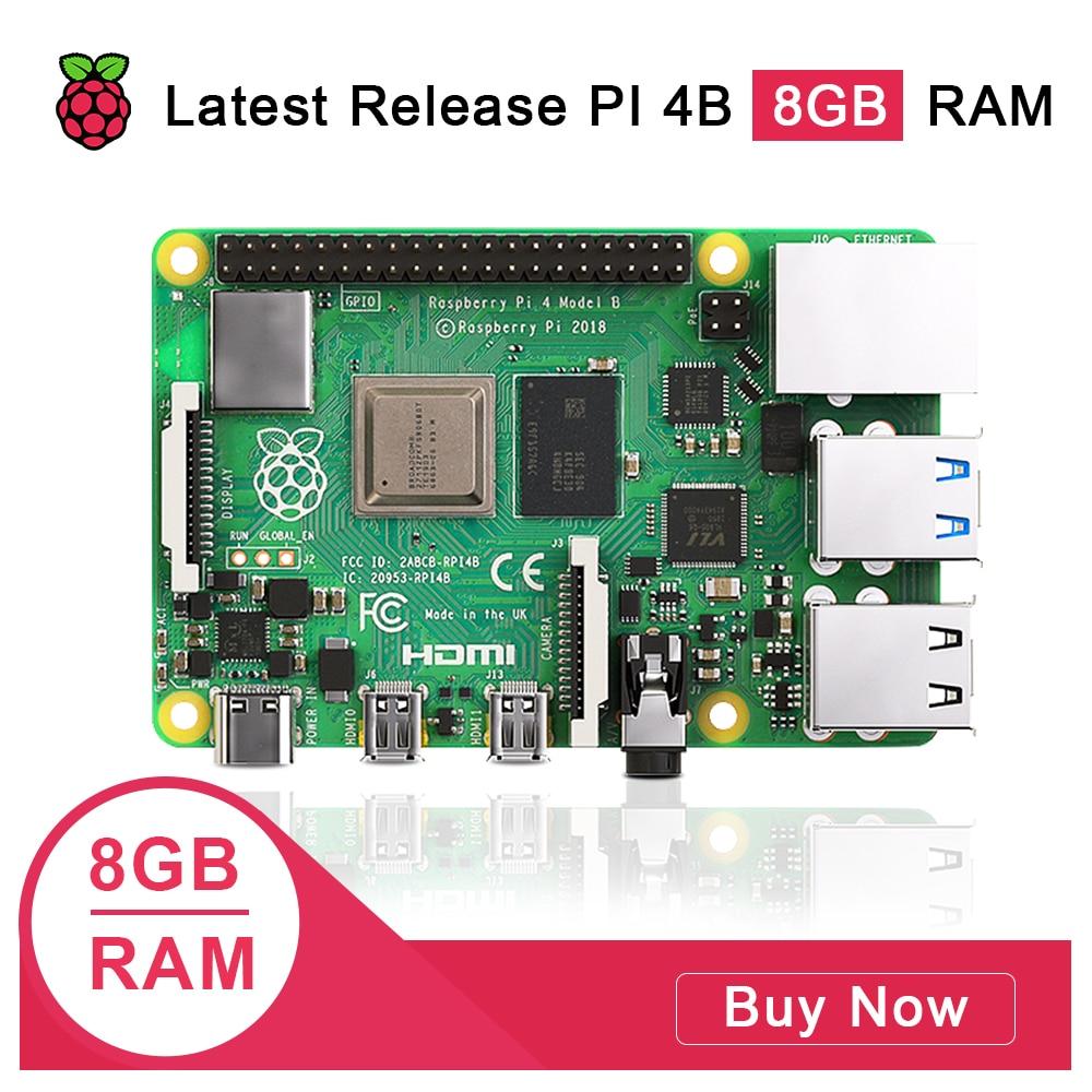 Latest Raspberry Pi 4 Model B 8GB RAM Raspberry Pi 4 1.2 version BCM2711 Quad core Cortex-A72 ARM v8 1.5GHz