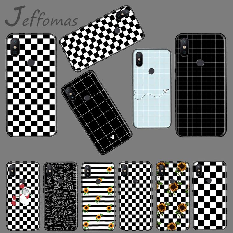 Checkerboard quadriculados girassóis macio preto caso de telefone para xiaomi redmi nota 4 4x5 6 7 8 pro s2 plus 6a pro