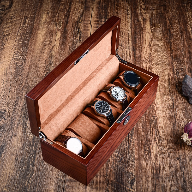 Nordic Luxury Watch Box Organizer Wooden Watch Box Case Wood Brown Storage Mechanical Display Box with Lock Gift Free Shipping enlarge
