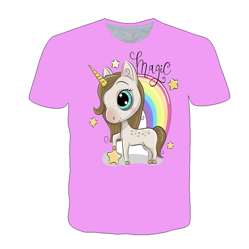 3D Print Unicorn T-shirt For Girls Cute Pony Graphic Tees Children's Clothing Baby Boy and Little Girl Summer Clothes Tops 4-14T