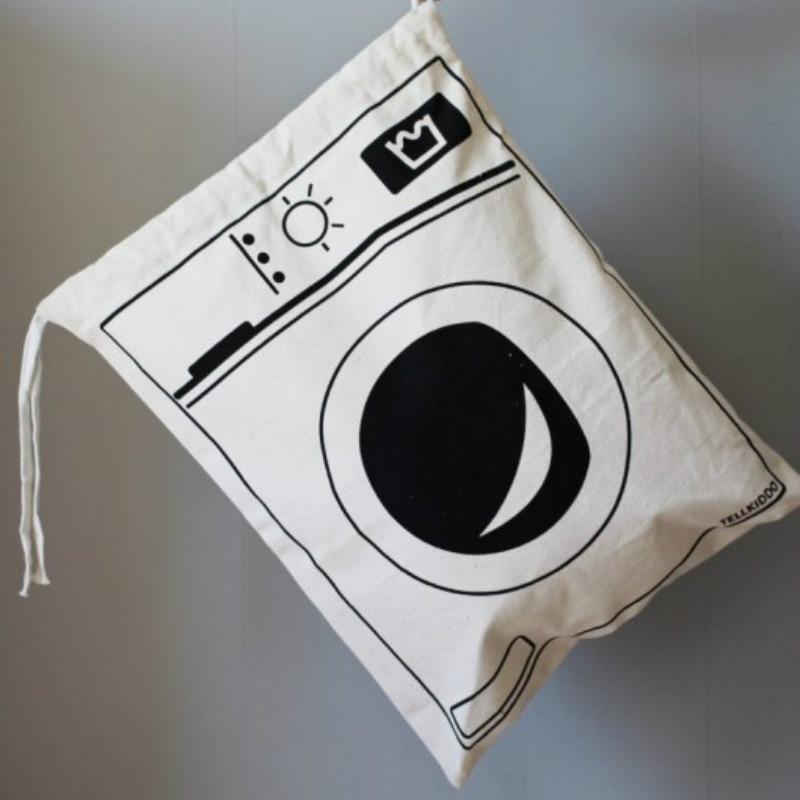 Большой размер белый холст Прачечная игрушки сумка для хранения Домашний Организатор для мелочей мешок для хранения 48*68 см