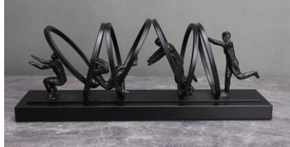 European cast iron figure Sculpture Black gymnastics combination model house sales department Bedroom living room dining room st
