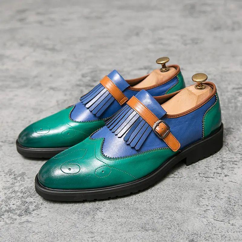 خريف جديد الرجال بولي Color اللون مطابقة مجموعة القدم شرابة الديكور مسطحة القاع وأشار الرجال الأعمال الترفيه اليومية الأحذية الرجعية AQ107