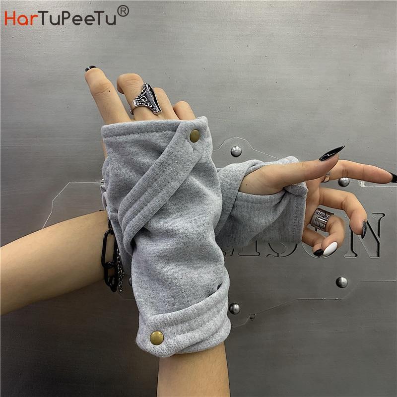 Женские длинные перчатки для танцев в стиле хип-хоп, унисекс, уличная одежда с пуговицами из хлопка, оптом