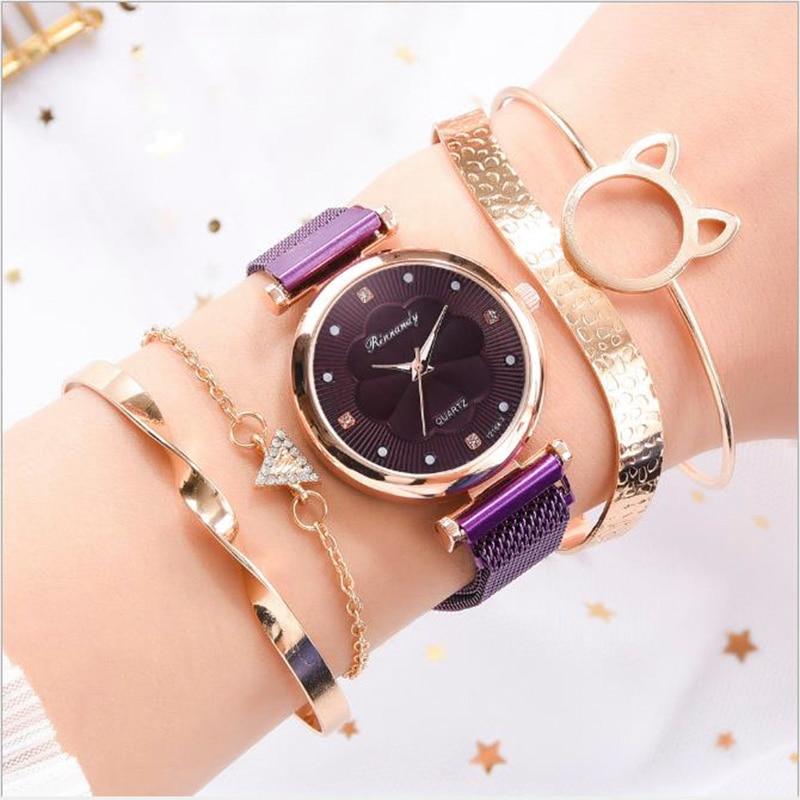Luxury Women Watches Fashion Quartz Watch Ore Glass Dial Alloy Magnet Strap Flower Dress Clock Wrist Watch Milan montre femme