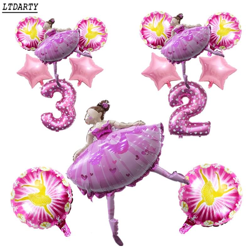 Globo de niña bailando 6 uds. De 18 pulgadas con forma de estrella, 0-9 niña feliz, decoración de juguete para niños para fiesta de cumpleaños, digital rosa de 32 pulgadas