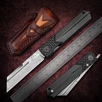 newootz damascus higonokami cleaver balde titanium handle with pocket clip and sheath edc folding knives tactical self defense