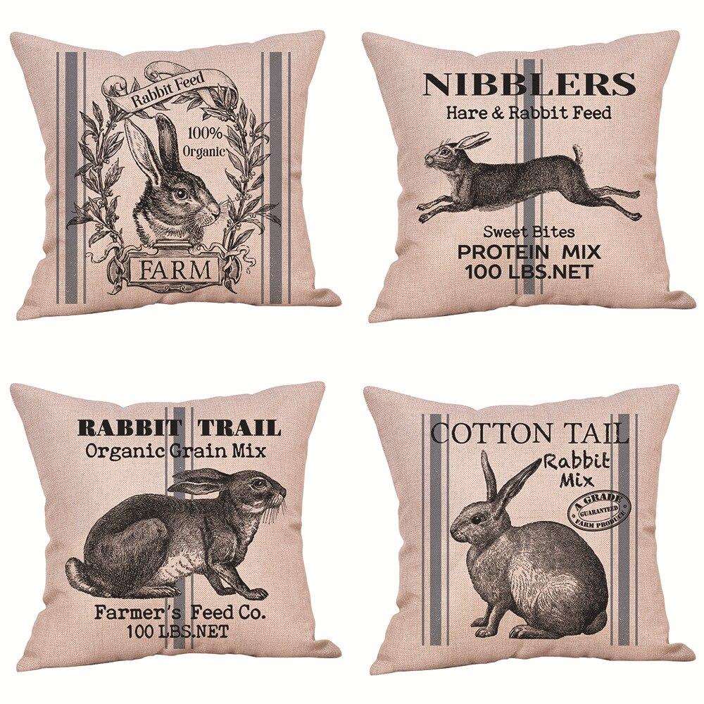 45*45CM New Easter Bunny Pillowcase Pattern Sofa Pillow Backrest Linen Pillow Case Grey Creative Cushion Cover Living Room
