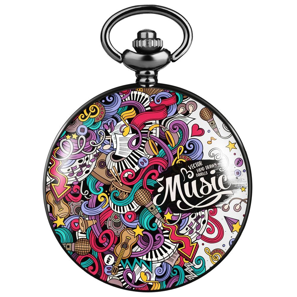 2021 карманные часы Metro, карманные часы, механическая подвеска, цветная серия граффити, подарок для подруг, девушек, простые карманные часы