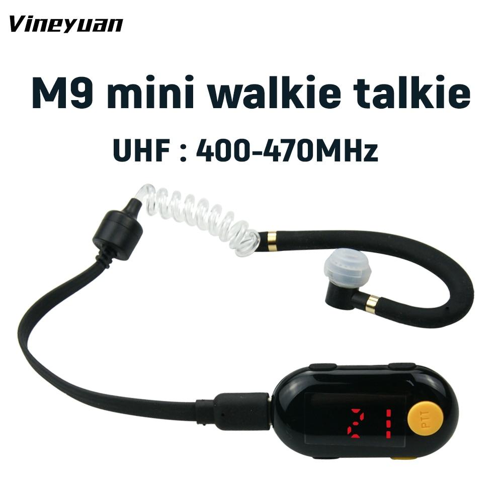 جهاز لاسلكي صغير Vineyuan M9 ، UHF 400-470MHz ، 25 قناة ، راديو ثنائي الاتجاه مع سماعة رأس