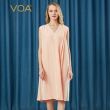 VOA40 mme white hit soie lourde et robe cou sur soie épaule-longueur manches courtes taille ample robe plissée A10573