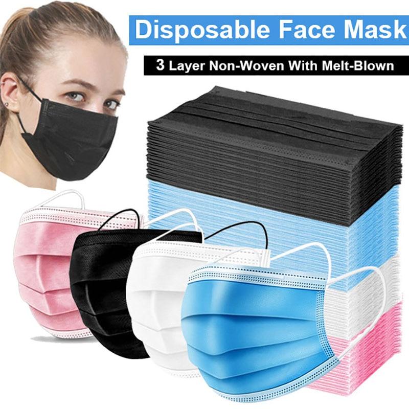 Disposable Mouth Mask 10/50/100 Pcs Anti-Dust Mascarillas 3-layer Non Woven Meltblown Cloth Masks Elastic Ear Loop Face Mask