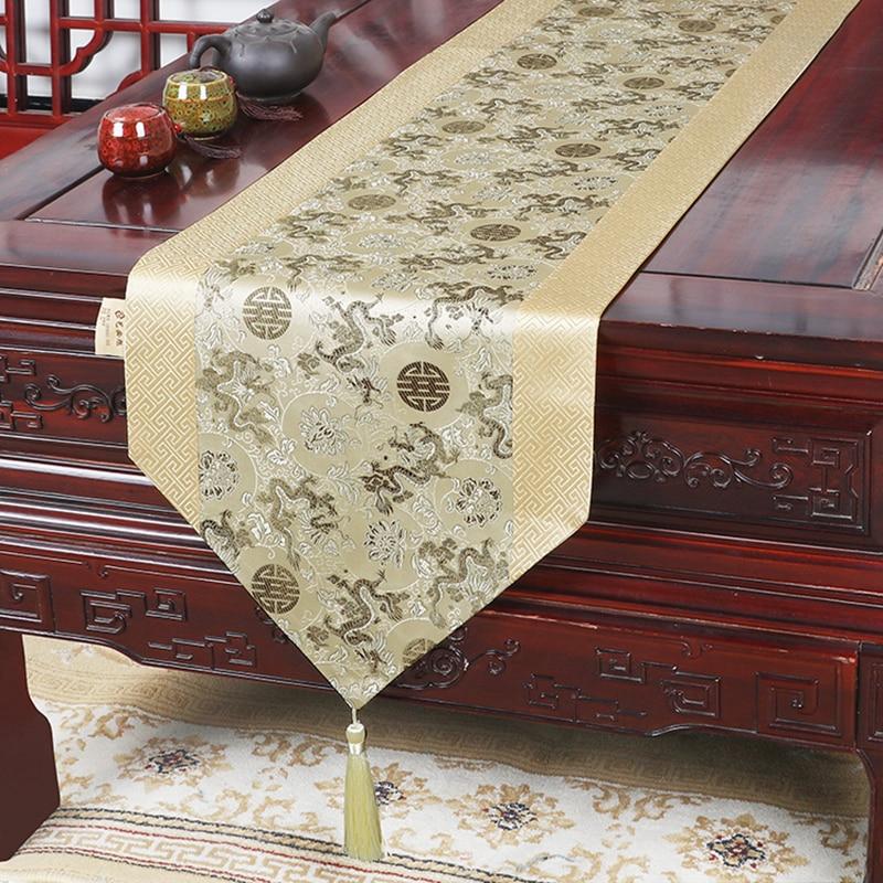 مفرش طاولة قهوة من الحرير الصيني ، مفرش طاولة مستطيل ، تصميم عرقي مخصص ، نمط دمشقي ، خليط فاخر ، وسائد شاي