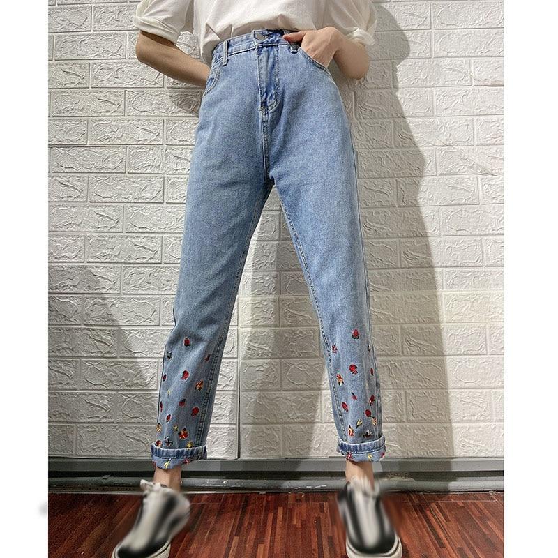 Узкие облегающие Женские джинсы с завышенной талией, повседневные темпераментные рваные узкие джинсы с вышивкой для девочек-подростков
