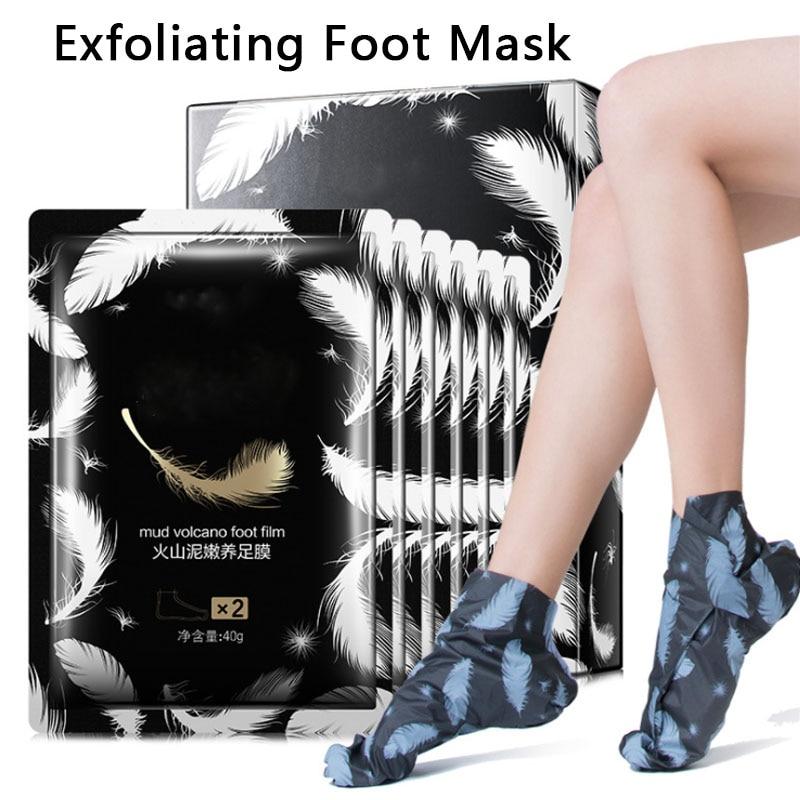 Volcanic Mud Peeling Exfoliating Foot Mask Socks Foot Patch Magic Dead Skin Remover Pedicure Anti-Aging Moisturizing Feet Care