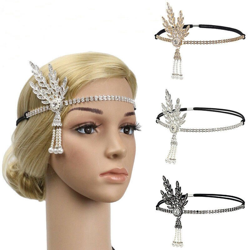 New Great Gatsby Cap Cabelo Chapéu Headband 1920's Prata Great Gatsby Flapper Flapper Traje Acessórios Vestido Marfim Margarida Do Vintage
