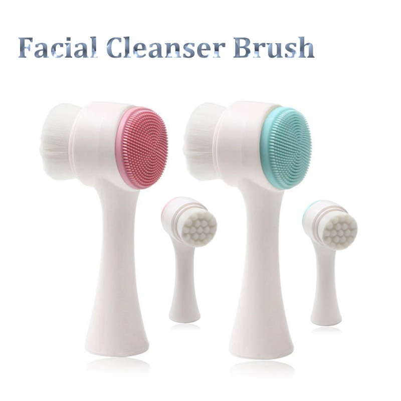 New Double-sided Silicone Skin Care Tool Facial Cleanser Brush Face Cleaning Vibration Facial Massag