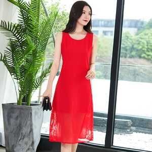 2020 large size covered belly Chiffon Lace stitching dress for noble summer