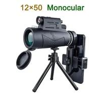 12x50 monoculars compact telescopic zoom night vision waterproof professional hd glass with flashlight laser light purple light