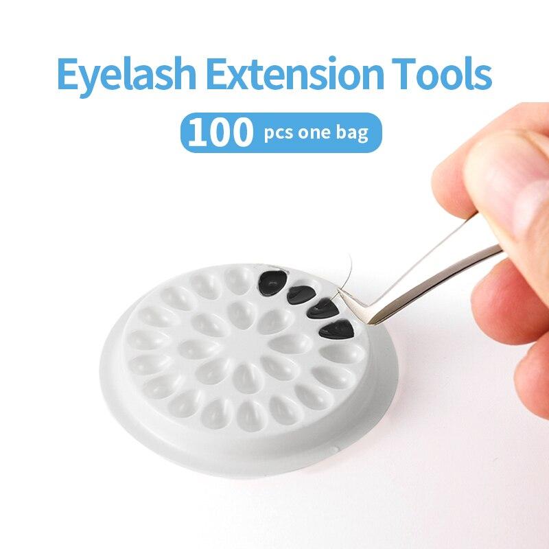 100pcs Disposable Eyelash Glue Holder Pallet Eyelash Extension Glue Pads Stand on Eyelash Plastic Glue Holder for Eyelash недорого