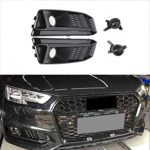 Modified Fog Light Grill For A4 B9 2017 2018 Car Front Bumper Light Grills in Racing Grills Grille Cover Auto Accessories
