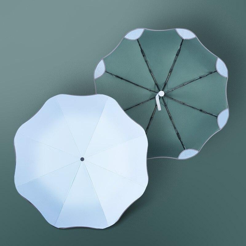 Sombrilla de mujer automática bonita resistente al viento, tres paraguas plegable totalmente automático con 8 varillas, Parasol Anti UV seguro, a prueba de viento, para viaje, Sol/lluvia