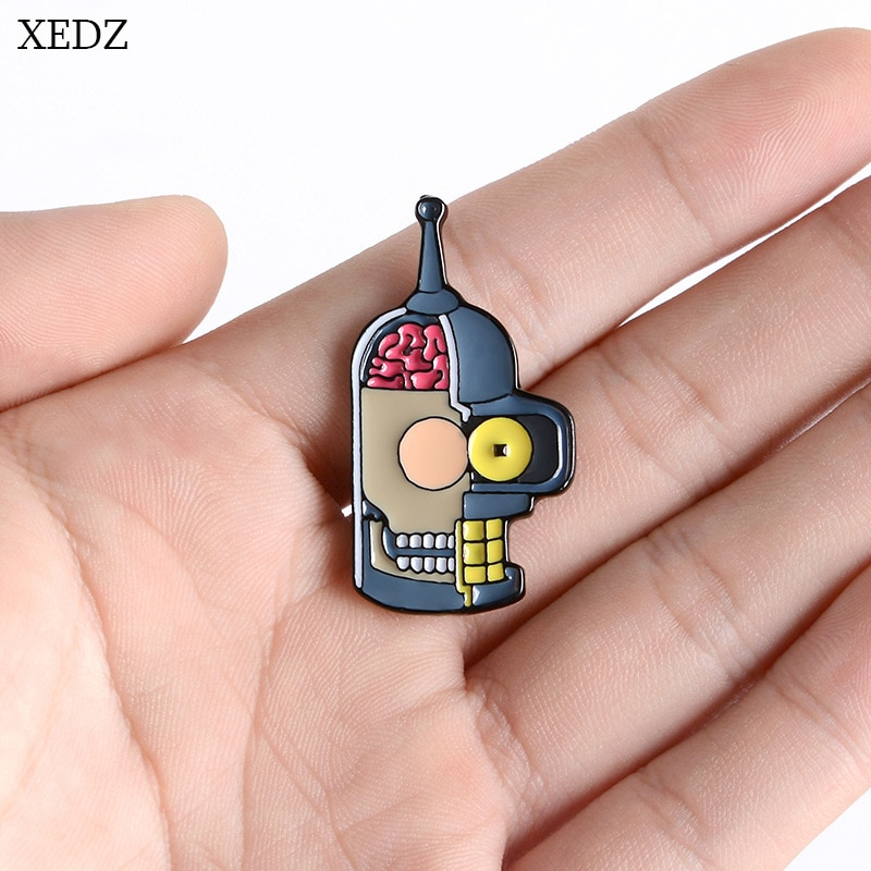 XEDZ robot mask teeth eyes personality enamel pin broken horror machine mask brain fun backpack badge lapel brooch jewelry gift  - buy with discount