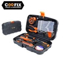 22 pcs hand tool set general household repair tool kit plastic tool box storage case hammer screwdriver electrical tool kits