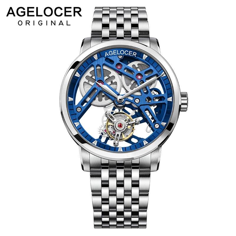 AGELOCER توربيون الساعات الميكانيكية ساعة الرجال الأزرق الهيكل العظمي الصلب سوار ساعة عادية ساعة معصم Relojes Hombre