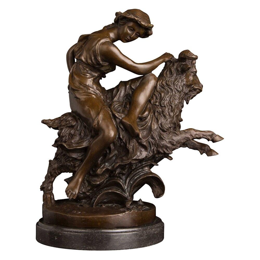 Escultura de bronce hecha a mano de bronce Pastora Vintage con estatua de cabra figura de Animal arte de sala de estar Decoración