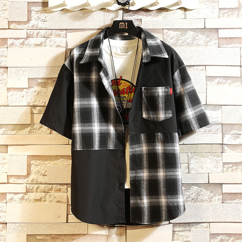 Camisa clásica de cuadros para hombre de manga corta a la moda...