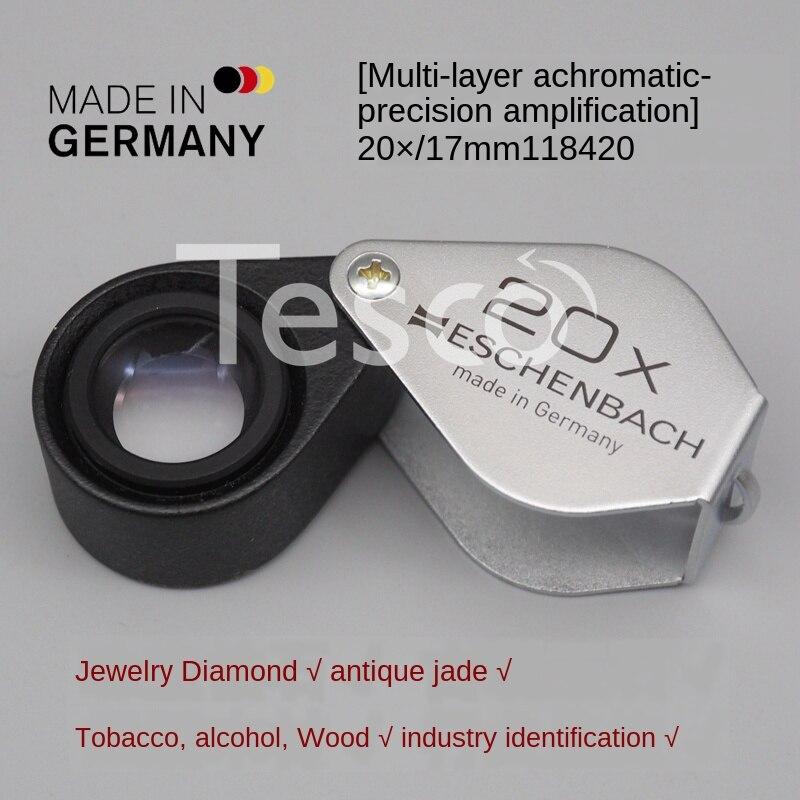 Original alemão metal 100 vezes 20 hd 1000 jóias antiguidades de alta potência identificação dobrável portátil lupa