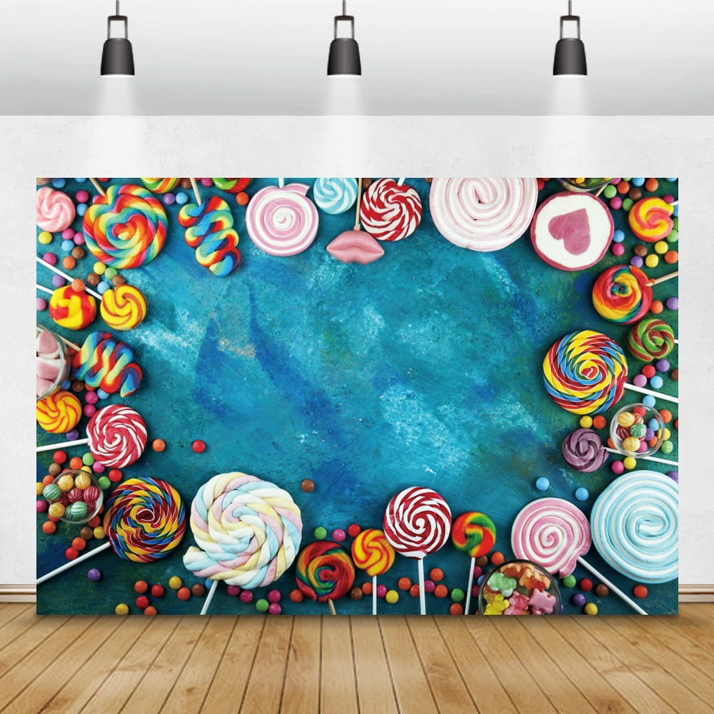 Laeacco Lollipop Candy Bar Dessert Donut Baby Birthday Photography Backdrops Customize Photographic Backgrounds For Photo Studio laeacco lollipop candy bar dessert donut baby birthday photography backdrops customize photographic backgrounds for photo studio