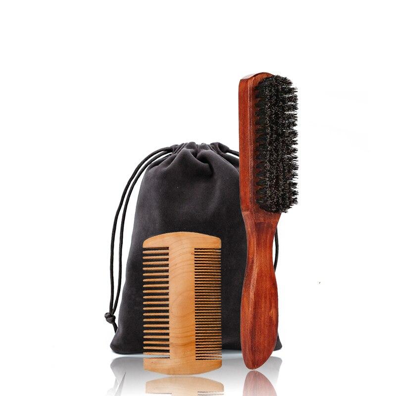 salon professional bristle Professional Men Beard Brush Comb Kit Boar Bristle Wood Mustache Brush And Beard Comb Salon Styling Hair Comb Shaving Brush Kit