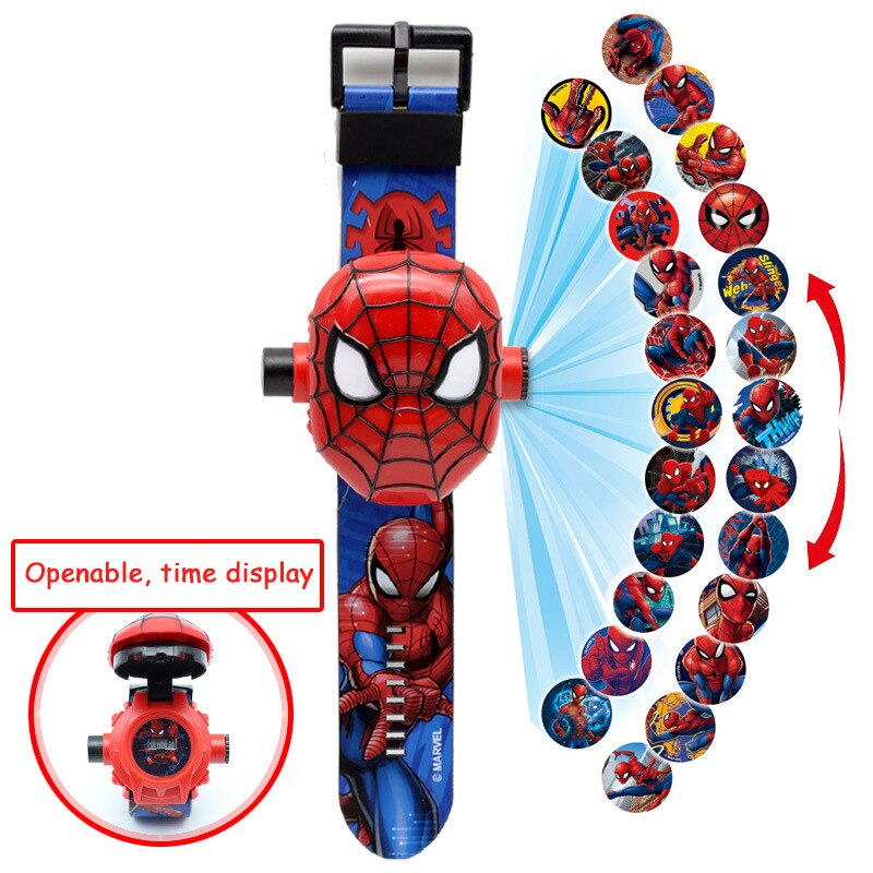 Cartoon Pattern Super Hero 3D Projection Children Watches Kids Rubber Digital Watch Girls Clock Boys