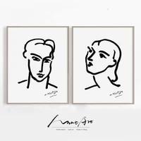 Matisse     affiche dart moderne abstrait en noir et blanc  portrait minimaliste  decoration murale pour la maison