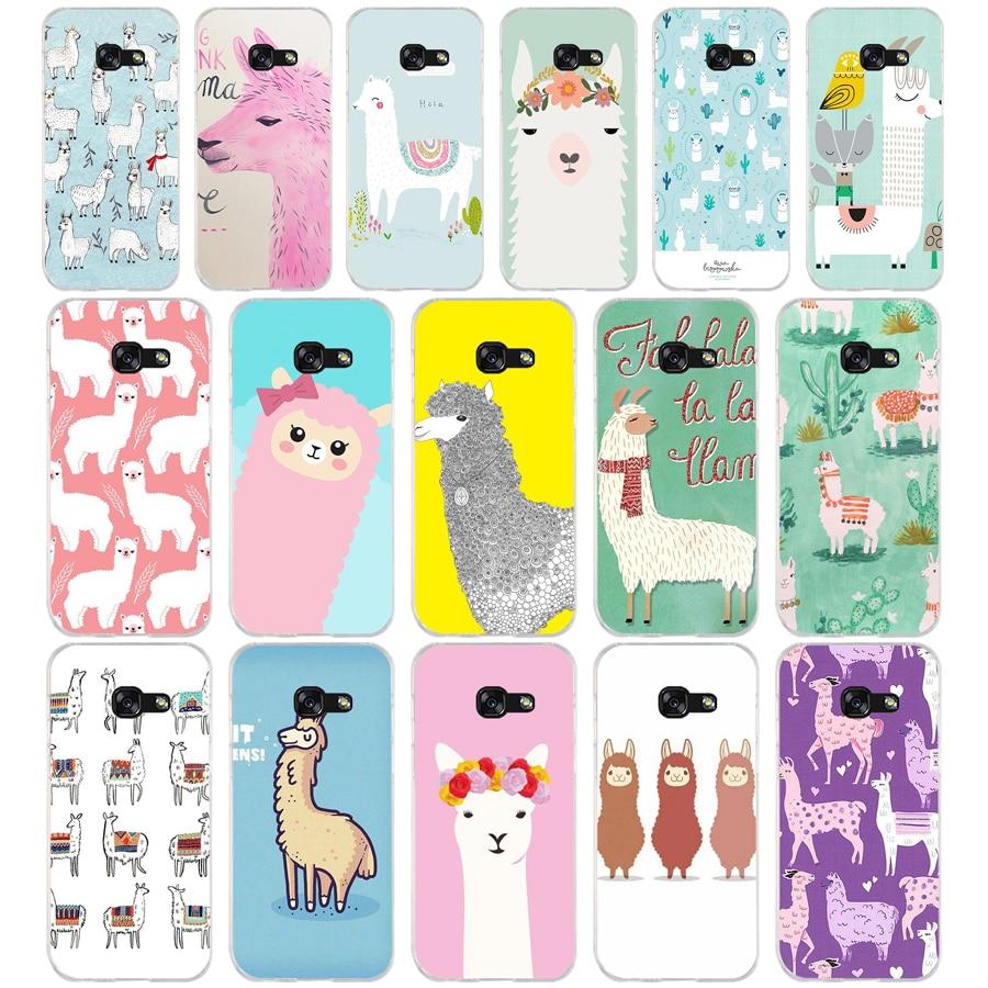 317 Cute Llama Alpaca Animals Cartoon Soft Silicone Tpu Cover phone Case for Samsung a3 2016 a5 2017 a6 plus a7 a8 2018 s6 7 8 9