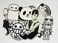 100pcs diy fashion trend funny doodle kuso culture black and white decal skin sticker toy for laptop macbook luggage phone car