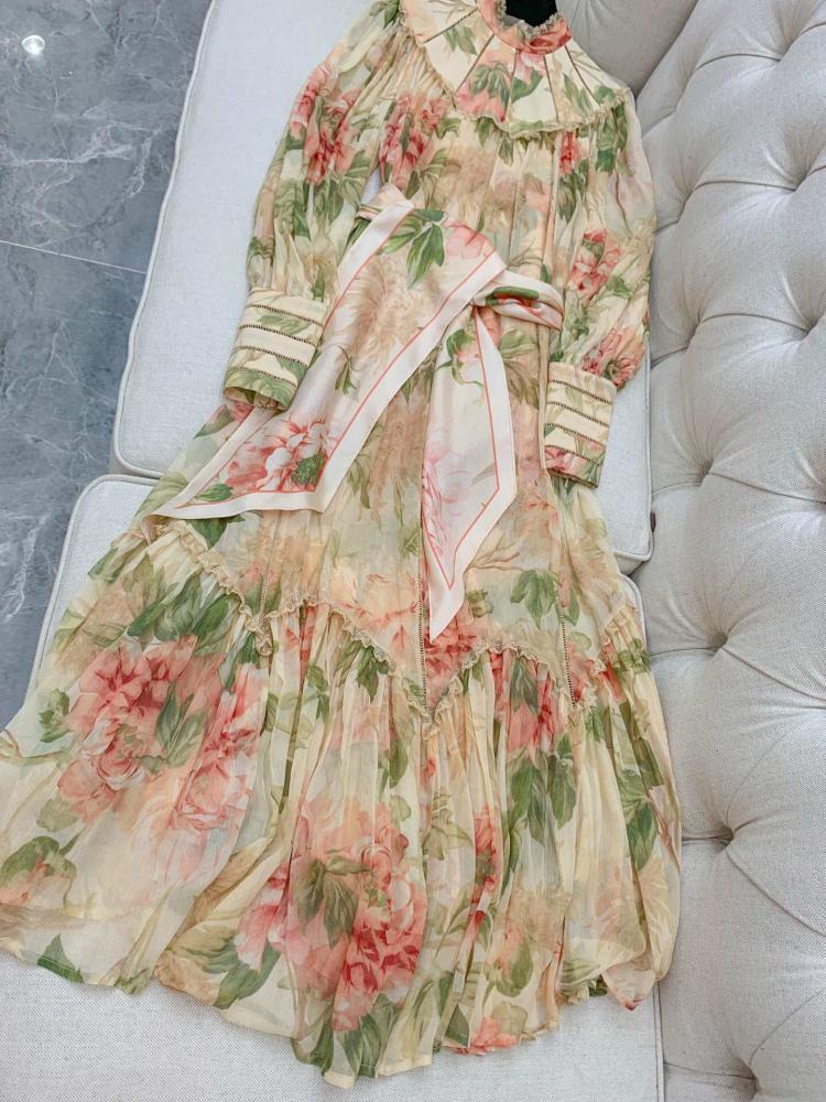 Romantic watercolour blooms beige Espionage silk dress ruffled lace trims High neck waist sash Belt Long balloon sleeve 2019