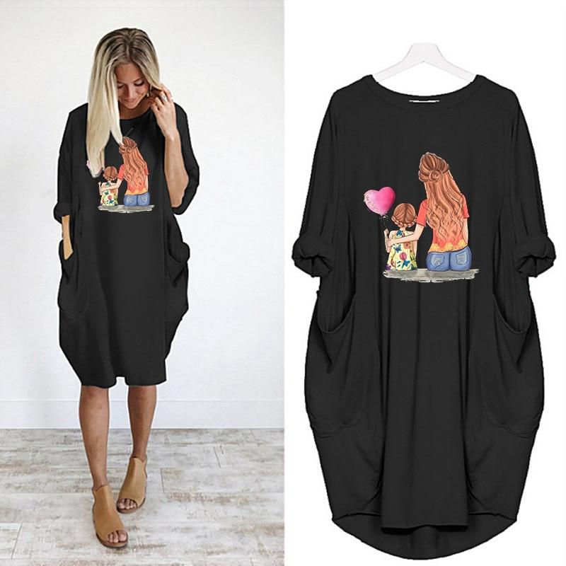 t Shirt Dress Loose Woman Long Sleeve Dresses Vestidos Party Vintage Harajuku o Neck Pocket Casual Robes Femme Plus Size Midi