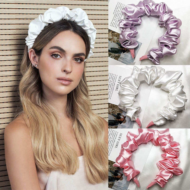 2021 new imitation silk wrinkle hairband, large size headband, all-match hair accessories, face pres