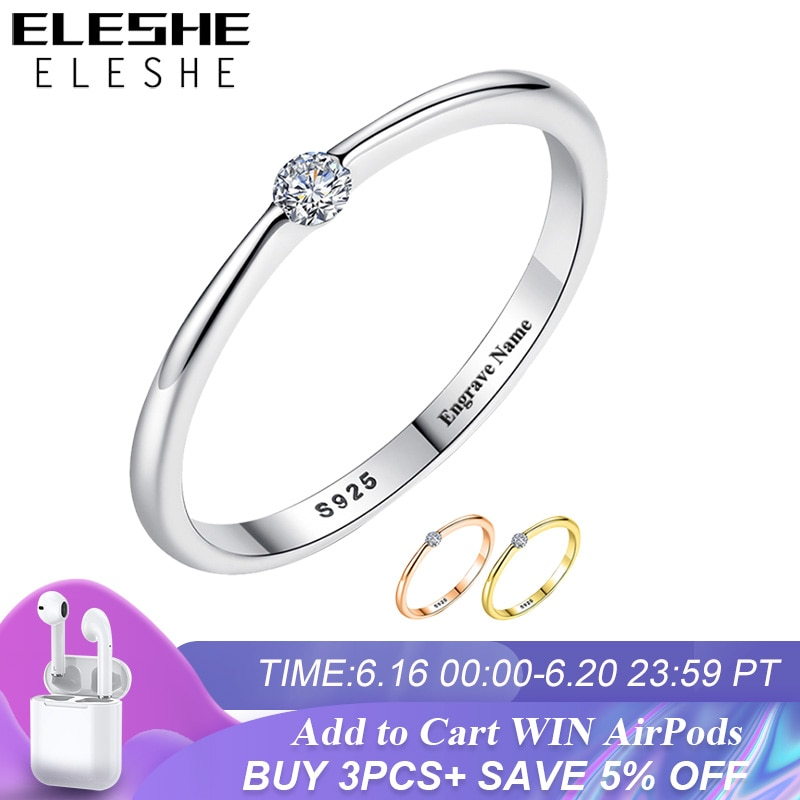 AliExpress - ELESHE Authentic 925 Sterling Silver Rings Round Zirconia Crystal Finger Rings for Women Wedding Original Silver Jewelry