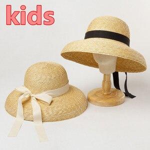 202005-hh6029B NEW SUMMER  kids HANDMADE straw Hepburn style bucket  cap children  leisure  fishermen hat