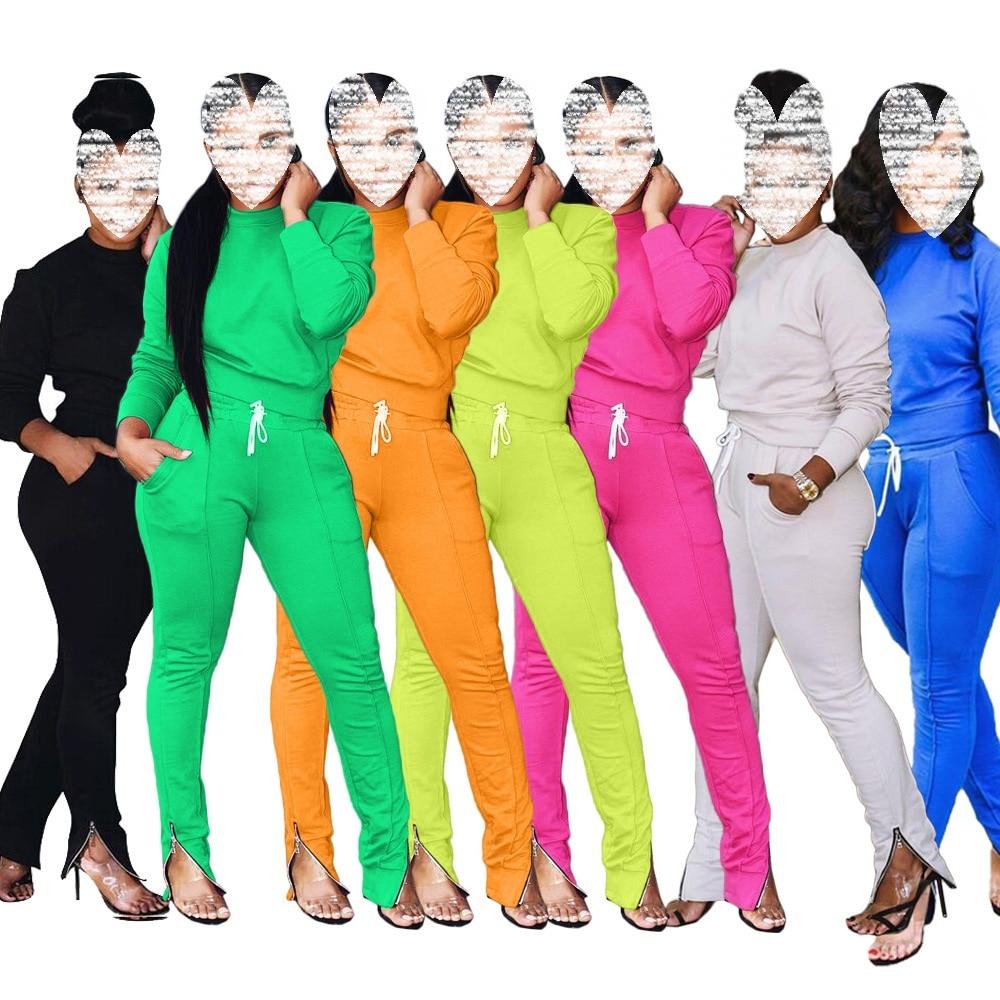 Otoño e Invierno nuevo Europeo Americano de moda de las mujeres Casual deportes pies cremallera Color sólido señoras traje Casual conjunto a juego