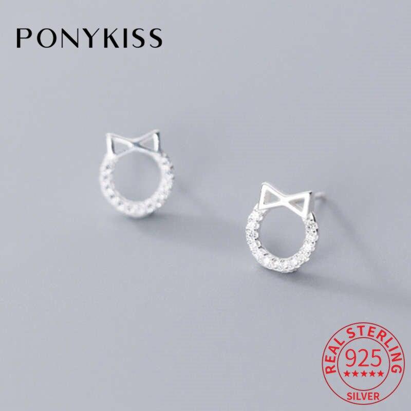 Ponykiss na moda s925 prata esterlina redonda e bowkont zircon brincos femininos aniversário delicado acessório jóias presente