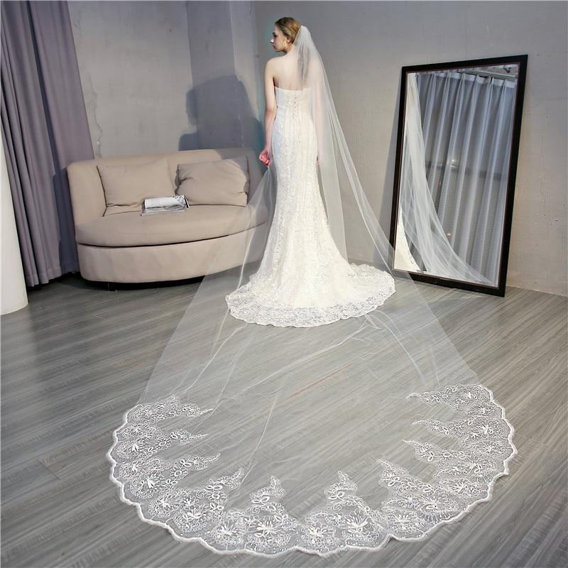 Accessoire Casamento Popodion 4 Metros de Véu Do Casamento De Comprimento Laço Do Casamento Lantejoulas Véus de Noiva para a Noiva com Pente WAS10064