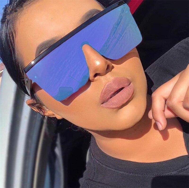 2021 Oversized Sunglasses Women Big Frame Square Flat Top Rivet Gradient Lens Sun Glasses Female Men